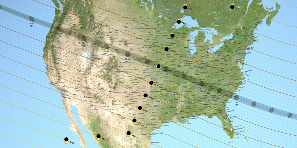 A map of the United States showing the path of totality for the August 21, 2017 total solar eclipse.